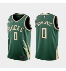 Men Milwaukee Bucks Donte DiVincenzo 2021 Earned Green Jersey