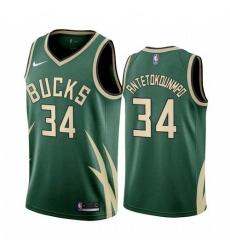 Men Milwaukee Bucks Giannis Antetokounmpo 2021 Earned Green Jersey