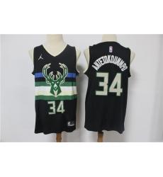 Men Milwaukee Bucks Giannis Antetokounmpo 34 Swingman Black 2021 Jordan Brand Jersey