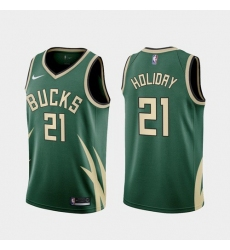Men Milwaukee Bucks Jrue Holiday 2021 Earned Green Jersey