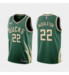 Men Milwaukee Bucks Khris Middleton 2021 Earned Green Jersey