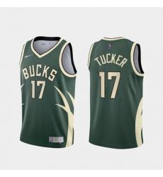 Men Milwaukee Bucks PJ Tucker 2021 Earned Green Jersey