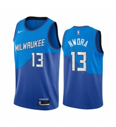 Men Nike Milwaukee Bucks 13 Jordan Nwora Blue NBA Swingman 2020 21 City Edition Jersey