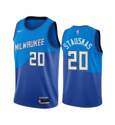 Men Nike Milwaukee Bucks 20 Nik Stauskas Blue NBA Swingman 2020 21 City Edition Jersey