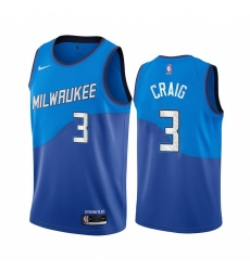 Men Nike Milwaukee Bucks 3 Torrey Craig Blue NBA Swingman 2020 21 City Edition Jersey