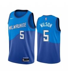 Men Nike Milwaukee Bucks 5 D J  Wilson Blue NBA Swingman 2020 21 City Edition Jersey