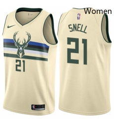 Womens Nike Milwaukee Bucks 21 Tony Snell Swingman Cream NBA Jersey City Edition