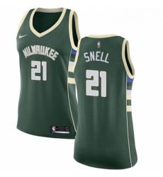 Womens Nike Milwaukee Bucks 21 Tony Snell Swingman Green Road NBA Jersey Icon Edition