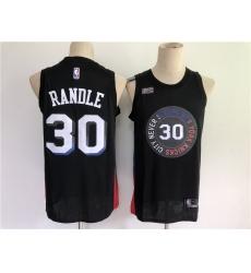 Men New York Knicks 30 Randle Black City Edition 2021 NBA Jersey