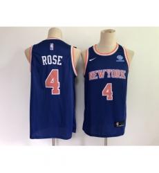 Men's New York Knicks #4 Derrick Rose Blue Stitched Basketball Jersey