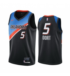 Men Nike Oklahoma City Thunder 5 Luguentz Dort Black NBA Swingman 2020 21 City Edition Jersey
