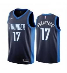Men Oklahoma City Thunder 17 Aleksej Pokusevski Navy NBA Swingman 2020 21 Earned Edition J