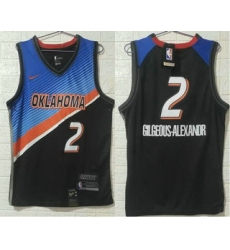 Men Oklahoma City Thunder 2 Shai Gilgeous Alexander NEW Blue Black 2021 City Edition NBA Swingman Jersey