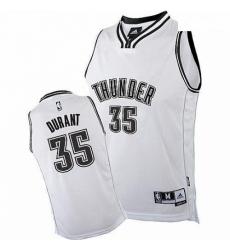 Mens Adidas Oklahoma City Thunder 35 Kevin Durant Authentic White on White NBA Jersey