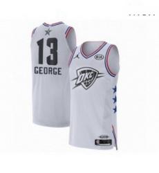 Mens Jordan Oklahoma City Thunder 13 Paul George Authentic White 2019 All Star Game Basketball Jersey