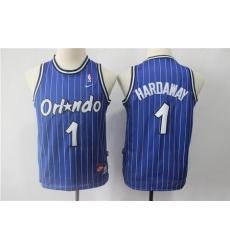 Men Nike Magic 1 Tim Hardway Blue Throwback NBA Stitched Jersey