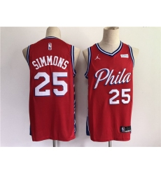 Men Men Philadelphia 76ers 25 Simmons Red New 2021 NBA Jersey