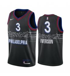 Men Nike Philadelphia 76ers 3 Allen Iverson Black NBA Swingman 2020 21 City Edition Jersey