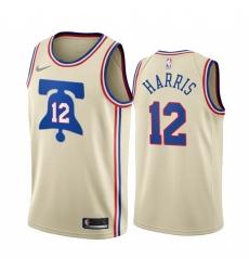 Men Philadelphia 76ers 12 Tobias Harris Cream NBA Swingman 2020 21 Earned Edition Jersey
