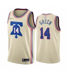 Men Philadelphia 76ers 14 Danny Green Cream NBA Swingman 2020 21 Earned Edition Jersey