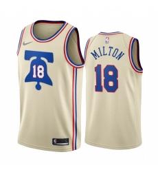 Men Philadelphia 76ers 18 Shake Milton Cream NBA Swingman 2020 21 Earned Edition Jersey