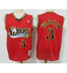 Men Philadelphia 76ers 3 Allen Iverson Red Hardwood Classics Reload Swingman Throwback Jersey