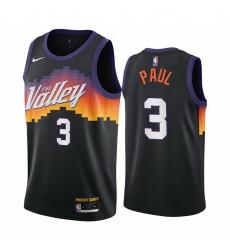 Men Nike Phoenix Suns 3 Chris Paul Black NBA Swingman 2020 21 City Edition Jersey