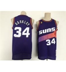 Men Phoenix Suns 34 Barkley Purple Throwback 2021 NBA Jersey