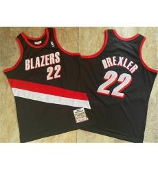 Blazers 22 Clyde Drexler Black 1991 92 Hardwood Classics Swingman Jersey