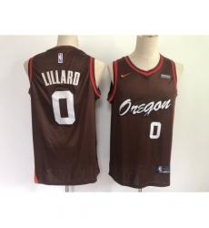 Men's Portland Trail Blazers #0 Damian Lillard Brown City Player Jersey