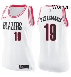 Womens Nike Portland Trail Blazers 19 Georgios Papagiannis Swingman White Pink Fashion NBA Jersey
