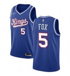 Kings  5 De Aaron Fox Blue Basketball Swingman Hardwood Classics Jersey