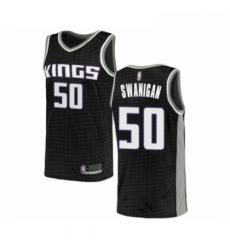 Mens Sacramento Kings 50 Caleb Swanigan Authentic Black Basketball Jersey Statement Edition
