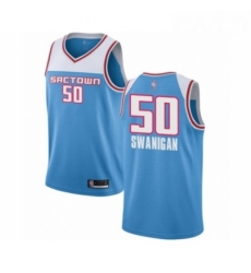 Mens Sacramento Kings 50 Caleb Swanigan Authentic Purple Basketball Jersey Icon Edition