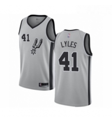 Mens San Antonio Spurs 41 Trey Lyles Authentic Silver Basketball Jersey Statement Edition