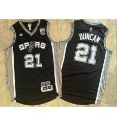 Spurs 21 Tim Duncan Black Retired Commemorative Edition Swingman Mesh Jersey