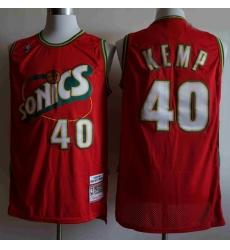 Men Seattle SuperSonics SHAWN KEMP 40 Mitchell Ness Jersey Red