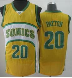 Seattle SuperSonics 20 Gary Payton Yellow Throwback Revolution 30 NBA Basketball Jerseys-2