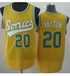 Seattle SuperSonics 20 Gary Payton Yellow Throwback Revolution 30 NBA Basketball Jerseys