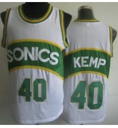 Seattle SuperSonics 40 Shawn Kemp White Hardwood Classics Revolution 30 NBA Jerseys