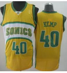Seattle SuperSonics 40 Shawn Kemp Yellow Throwback Revolution 30 NBA Basketball Jerseys