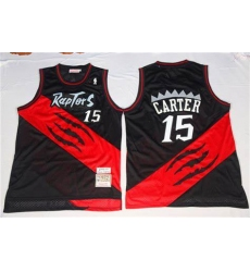 Men Toronto Raptors Vince Carter Black Red NBA Jersey
