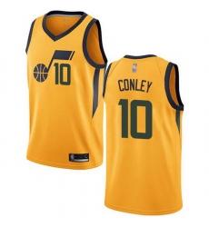 Jazz  10 Mike Conley Yellow Basketball Swingman Statement Edition Jersey