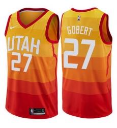 Jazz  27 Rudy Gobert Orange Basketball Swingman City Edition 2019 20 Jersey