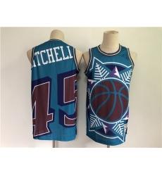 Men Men Utah Jazz 45 Donovan Mitchell Blue Big Face Throwback Stitched Jersey