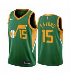 Men Utah Jazz 15 Derrick Favors Green NBA Swingman 2020 21 Earned Edition Jersey