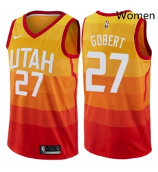 Womens Nike Utah Jazz 27 Rudy Gobert Swingman Orange NBA Jersey City Edition
