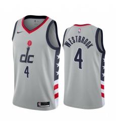 Men Nike Washington Wizards 4 Russell Westbrook Gray NBA Swingman 2020 21 City Edition Jersey