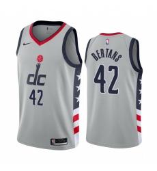 Men Nike Washington Wizards 42 Davis Bertans Gray NBA Swingman 2020 21 City Edition Jersey