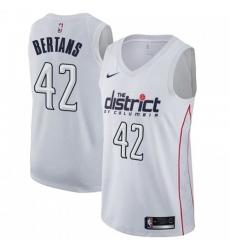 Men Nike Washington Wizards 42 Davis Bertans White NBA Swingman City Edition Jersey